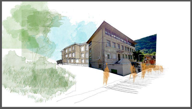 Idejna zasnova dolske šole z prizidkom, atrijem in večnamensko dvorano.