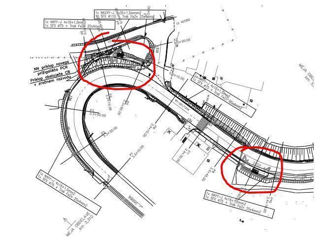 Nova situacija v grafičnem prikazu. Obkroženi sta avtobusni postajališči. (vir: DRSI)