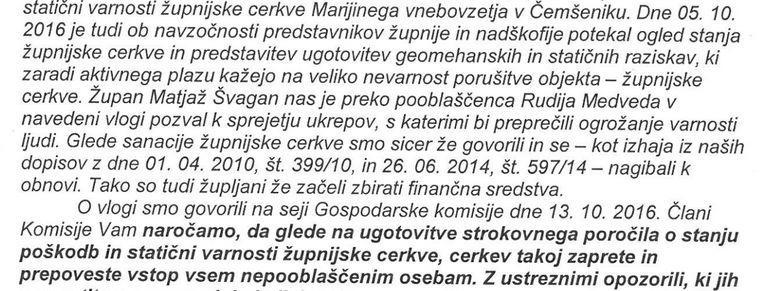 Del pisma ljubljanske nadškofilje namenjeno župniku.